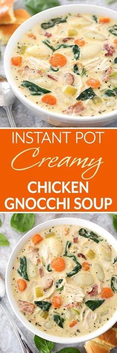 Instant Pot Creamy Chicken Gnocchi Soup is loaded with lots of flavor from herb and spices, garlic, carrots, and bacon. Make this soup in your electric pressure cooker. simplyhappyfoodie.com #instantpotrecipes #instantpotsoup #instantpotgnocchisoup #instantpotchickensoup #pressurecookersoup