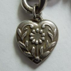 Sterling Silver Puffy Heart Charm - Stylized Daisy Flower - Engraved 'G.R.'