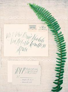Hand calligraphy wedding invite.