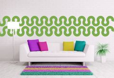 Wall Decal Geometric Abstract Waves Ribbon Mod by WallStarGraphics, $150.00