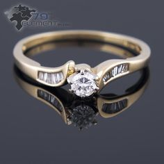 Ring made of yellow gold with pretty diamonds 79diamenty.pl  #engagementrings  #yellowgold #diamonds