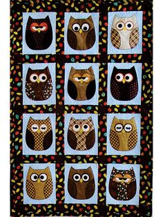 """Snuggle up with some really cute owls for the sweetest of dreams!   Mix and match fat quarters, dig deep into your stash for scrappy owls or try making a quilt in pastels (which would be perfect for Baby's room!). So much fun and a great way to perfect your applique technique(s), this pattern includes full-size templates and instructions. Finished size is approximately 37"""" x 56"""" using 9 fat quarters or scraps."""
