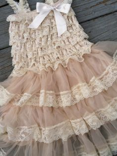 GIRLS LACE PETTIDRESS // Flower Girl Dress // by AdalynsBoutique, $28.99