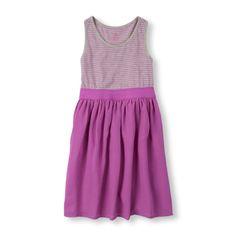 Girls Sleeveless Striped Racer-Back Dress - Purple - The Children's Place