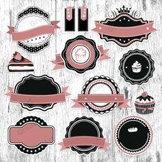 22 Pink Vintage Frames clipart set of labels retro frames Logo Label, Cupcake Logo, Cake Logo Design, Bakery Logo, Frame Clipart, Vintage Pink, Vintage Style, Etsy Vintage, Logo Food