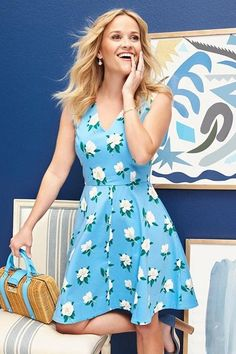 Reese Witherspoon wearing Draper James Magnolia Love Circle Dress in Draper Blue, Draper James Solid Wicker Bag in Natural and Manolo Blahnik Lauratopri Ankle-Strap Sandals