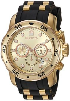 Men's Wrist Watches - Invicta Mens 17884 Pro Diver 18k Gold IonPlated Stainless Steel Chronograph Watch *** Want additional info? Click on the image. (This is an Amazon affiliate link)