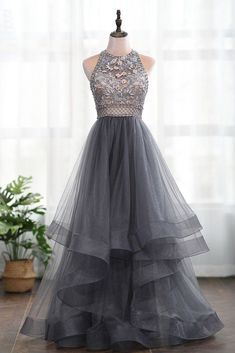 Grey Tulle Flowers Backless Heavy Beading High Neck Long Prom Dress, Evening Dress Source by dresses idea Grey Prom Dress, Unique Prom Dresses, Prom Dresses With Sleeves, Pretty Dresses, Beautiful Dresses, Bridesmaid Dresses, Sexy Dresses, Grey Formal Dresses, Corset Dresses