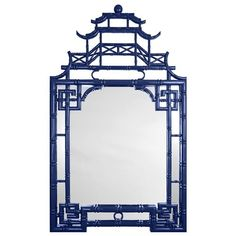 Blue Chinoiserie Pagoda Mirror. Paint white or silver and put in powder room?