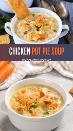 Chicken Pot Pie Soup Enjoy this ultimate comfort food recipe at home! Hearty and easy to prepare, this chicken pot pie soup is made from scratch and tastes like chicken pot pie but in soup form. Perfect for weeknight dinners with the family! Best Soup Recipes, Chicken Soup Recipes, Healthy Recipes, Easy Chicken Pot Pie Soup Recipe, Lowfat Soup Recipes, Dessert Recipes, Soups With Chicken Broth, Fish Soup Recipe Mexican, Soup With Rotisserie Chicken
