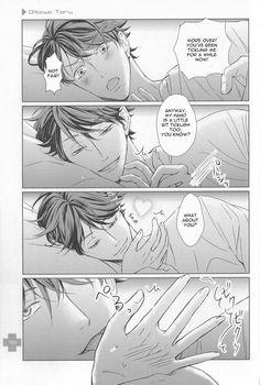 Haikyuu Kareshi - Bed Time [Oikawa Tooru]Should I tag this as NSFW? Ahaha, Oikawa-san is a natural seducer afterall, he's going to eat you. Haikyuu Manga, Haikyuu Dj, Manga Anime, Haikyuu Funny, Haikyuu Ships, Haikyuu Fanart, Anime Guys, Oikawa X Iwaizumi, Kuroo Tetsurou
