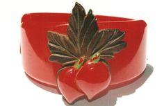 RARE RED BEET BAKELITE HINGED BRACELET