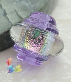 Lampwork Bead Ice Lavender Rainbow Ornate by GlitteringprizeGlass