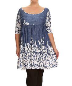 Another great find on #zulily! Denim Blue Floral Empire-Waist Tunic - Plus #zulilyfinds