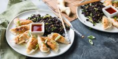 "Corn & ""Crab"" Dumplings with Ginger-Fried Rice and Sweet Chile Sauce"