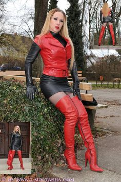 Lady Tasha in rot-schwarzem Leder Leather High Heel Boots, Thigh High Boots Heels, Black Leather Skirts, Leather And Lace, Knee Boots, Crazy Outfits, Sexy Outfits, Sexy Rock, Leder Outfits