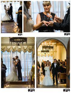 Candlelit wedding ceremony at Hilton Lake Las Vegas wedding chapel for an all white wedding decor.