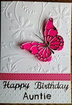 Card 52 Happy Birthday Auntie by CraftyCardsAOR on Etsy Happy Birthday Auntie, Happy Birthday Quotes, Birthday Messages, Happy Birthday Cards, Birthday Wishes, Birthday Wall, Birthday Stuff, Auntie Quotes, Butterfly Cards