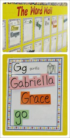Creating and using word walls in preschool, kindergarten, and home school classrooms. Includes ideas for removable words, as well as additional word wall resources.