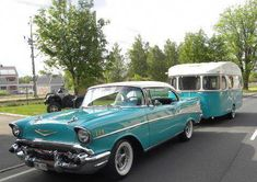 1957 Chevy Bel-Air and 1968 Comet travel trailer Vintage Campers Trailers, Retro Campers, Vintage Caravans, Rv Campers, Camper Trailers, 1957 Chevy Bel Air, Chevrolet Bel Air, Classic Campers, Classic Trucks