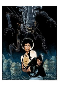 """Aliens by Randy Martinez Movie Synopsis: """"The planet from Alien (1979) has been colonized, but contact is lost. This time, the rescue team has impressive firepower, but will it be enough?""""  More Randy Martinez AMPs: Randy Martinez  Artists Website: http://www.randymartinez.net/"""