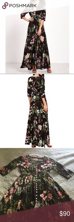 NWOT Wildflower Maxi Dress Beautiful v-neck flower patterned maxi dress. Super comfortable! 3/4 sleeves and modest front slit (hits about at my knee but can be unbuttoned to go higher). Absolutely love it, but it's a little too big so I can't justify keeping it. Flattering. Elastic high waist. Machine washable. Can be dressed up or down. Was a gift, so not sure what brand (looks like Free People or Anthropologie). Tags: nature fashion beach fall flowers patterned wedding. MAKE AN OFFER! I'm…