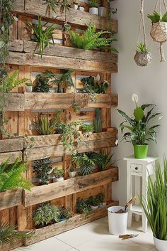 As an alternative, some homeowners use wood shipping pallets as the main materia., in 2 As an alternative, some homeowners use wood shipping pallets as the main materia. House Plants Decor, Plant Decor, Garden Yard Ideas, Garden Projects, Garden Deco, Building A Fence, Diy Planters, Wood Pallet Planters, Wood Pallets
