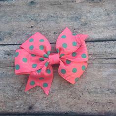 Spring Bow - Polka Dot Bow - Coral and aqua bow - Girls hair bow - Small Pinwheel Bow - Small Bow - Basic Hair Bow - Bow - Basic hair clip by BBgiftsandmore on Etsy