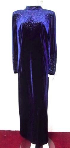 After Dark Blue velvet dress 18 20 vintage 90s beaded mock neck open back Sexy #AfterDark #Sexy #CocktailEvening