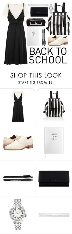 """""""black to school"""" by indahnovianaa ❤ liked on Polyvore featuring Vanessa Bruno, Marc Jacobs, Frye, Sloane Stationery, Paper Mate, Givenchy and Fendi"""