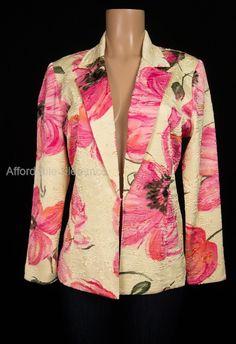JOSEPH RIBKOFF Trends Jacket 8 M Medium Floral Raised Crinkle Career Blazer | eBay