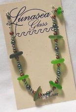 "LUNASEA TREASURES SEA GLASS CENTER DRILLED GREENS FW PEARL BRACELET 7 1/2""  NEW"