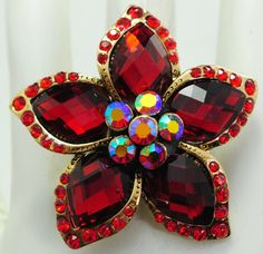 Red Cocktail Ring/Flower/Aurora by victoriascharms on Etsy