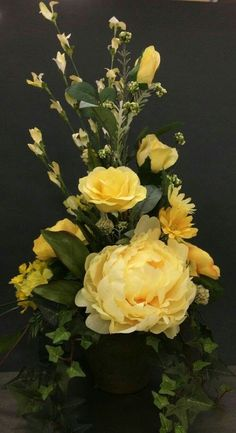 Yellow Rose and Peony Classic by Andrea Spring Flower Arrangements, Artificial Floral Arrangements, Floral Centerpieces, Artificial Flowers, Wedding Centerpieces, Faux Flowers, Silk Flowers, Spring Flowers, Yellow Flowers
