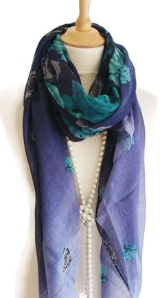 Fab Navy Turquoise Floral Print Pashmina Scarf Wrap Shawl Perfect Gifts New #unbranded #Pashmina