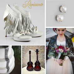 A pair of fringe sandals with studs seam like the best choice. Add some guitars on your wedding cake and a cool leather jacket and you're ready for the best moments of your life Wedding Themes, Wedding Cakes, Fringe Sandals, Wedding Details, Guitars, Studs, Wedding Inspiration, Leather Jacket, Rock