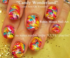 Candy Marble Nail Art ! - No Water Needed