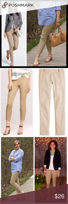 """j. crew // khaki tan minnie ankle pants It's called the """"magic pant"""" around the office for a reason: It's sleek, chic and slim fitting, with an exactly-right-length leg. And it goes with just about everything. Fitted through hip & thigh, with a skinny, cropped leg. 25"""" inseam. Cotton with a hint of stretch. Side zip. Gently worn, good preowned condition and super versatile! J. Crew Pants Ankle & Cropped"""
