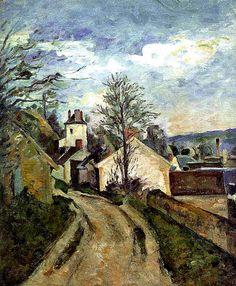 """Artinvest2000. Paul Cézanne, """"La casa del Dottor Gachet a Auvers"""" The House of Dr. Gachet in Auvers, 1873, oil on canvas, Musée d'Orsay, Paris."""