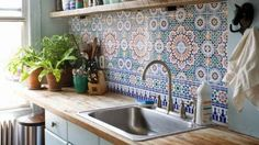 Morrocan tile kitchen wooden bench tops, simple apartment living, cheap renovation
