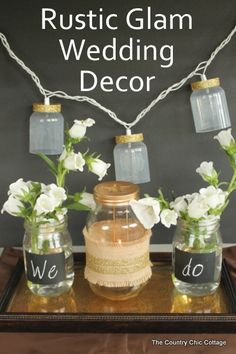 rustic glam wedding decor on a budget -- use items from Dollar General for this great party table.  #dollargeneral