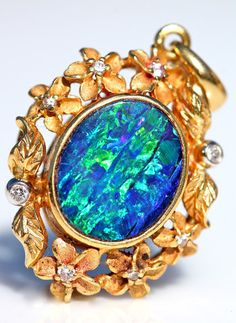 Vintage One of a Kind 18k Gold Blue Australian Boulder Opal Diamond Pe – Yourgreatfinds