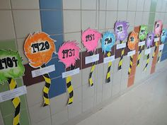 First Grade Glitter and Giggles.....Dr Seuss Timeline. Love this for a math lesson or bulletin board.