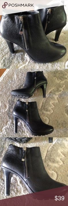 New Tahari black leather ankle boots, 7 New Tahari black leather ankle boots, size 7, perfect condition. No box. 3.5 inch heel Tahari Shoes Ankle Boots & Booties