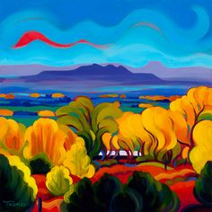 "Tracy Turner New Works Gallery  Blue Horizon, Golden Trees  12""x 12"" oil on linen  original art sold Giclee print available"