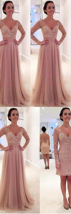 Long Sleeves V-neck Tulle Prom Dress with Detachable Train PG 237 #prom #dress #evening #party #pgmdress #fashion