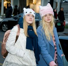 Dakota And Elle Fanning Wore Cat Hats In Korea