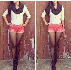 Shorts with tights . #Fashion