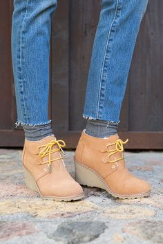 963cb4d1ee3 These TOMS Desert Wedge Booties pair a 3-inch wedge with the look of a