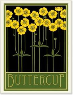 Buttercups Tile by Wildflower Graphics Art Deco Flowers, Flower Art, Flower Tiles, Cactus Flower, Flowers Garden, Botanical Illustration, Botanical Prints, Jugendstil Design, Art Nouveau Tiles
